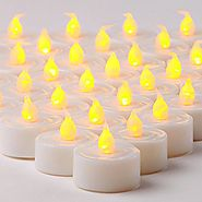 Flameless LED Tea Light Candles, Realistic, Battery Powered, Unscented LED Candles, Fake Candles, Tealights (24 Pack)...
