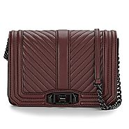Rebecca Minkoff Women's Chevron Quilted Small Love Cross Body Bag, Dark Cherry, One Size