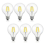 SHINE HAI G25 LED Vintage Filament Bulbs, 4W (40W Equivalent), 470 Lumens, 2700K Warm White, 360° Beam Angle, E26 Bas...