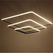 Royal Pearl Modern Square Led Chandelier Adjustable Hanging Light Three Ring Collection Contemporary Ceiling Pendant ...