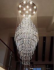 "7PM W27.6"" X H78"" Round Clear K9 Rain Drop LED Crystal Chandelier"