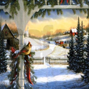 Christmas Bird in Snow Shower Curtain