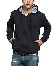 Alan Jones Solid Zipper Hooded Sweatshirt