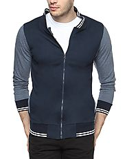 Campus Sutra Navy Blue Mens cotton Varsity Sweatshirt with Pocket