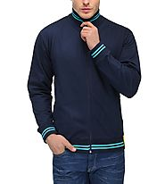 AWG Men's Premium Rich Cotton High Neck Hoodie Sweatshirt - Navy Blue