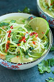 Spicy Sriracha Lime Chicken Zoodle Soup