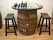 Vintage Whiskey Barrel Table Black Top w/Chess Board-Chess Pieces-2 Bar Stools
