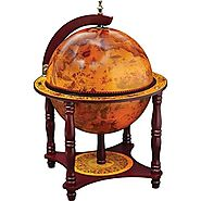 "Kassel™ 13"" Diameter Globe with 57pc Chess and Checkers Set"