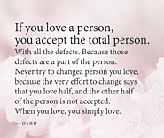 If you love a person...