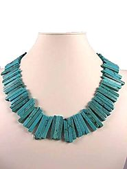 Turquoise Sticks Semi Precious Gemstone Necklace