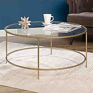 Sauder International Round Lux Coffee Table Clear Glass Top and Gold Finish