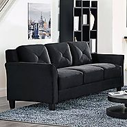 » Lifestyle Solutions CCHRFKS3M26BKVA Harrington Sofa, Black