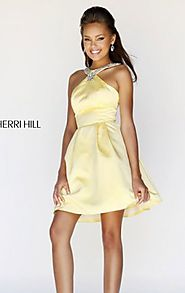 Sherri Hill 21245 Open Back Yellow Beaded Halter Short Party Dress Discount
