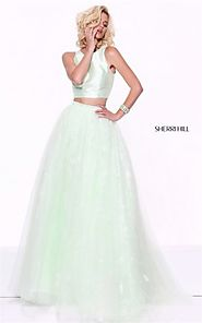 2 PC Lovely Sherri Hill Light Green 50787 Lace Cutout Sheer Princess Dress [Sherri Hill Light Green 50787] - $228.00 ...