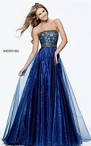 2017 Beaded Strapless Navy Sherri Hill 50779 Floral Print Prom Dress Long [Navy Sherri Hill 50779] - $208.00 : 2016 P...