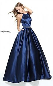 2017 Halter Neckline Sherri Hill 51036 Navy Stones Long Dress Prom Queen [Sherri Hill 51036 Navy] - $180.00 : 2016 Pr...