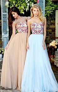2017 Junior Prom Sherri Hill 50873 Light Blue/Multi Strapless Floral Long Dress [Sherri Hill 50873 Light Blue/Multi] ...