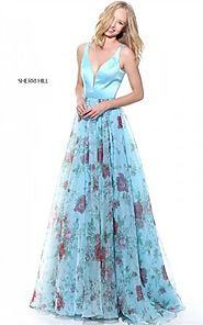 2017 Sheer Cutout Sherri Hill 51211 Lace Floral Blue Print Prom Dresses Long [Sherri Hill 51211 Blue] - $269.00 : 201...