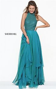 2017 Sherri Hill 50808 Jade Chiffon Halter Cutout Prom Gown For Junior [Sherri Hill 50808 Jade] - $215.00 : 2016 Prom...