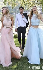 2017 Sherri Hill Light Blue 50786 Beading 2 PC Halter Long Prom Dress Outlet [Sherri Hill Light Blue 50786] - $213.00...