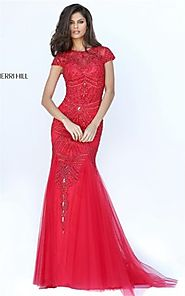Embellished Sherri Hill 50516 Red Beaded Cap Sleeves Slim Mermaid Gown 2017 [Sherri Hill 50516 Red] - $275.00 : 2016 ...