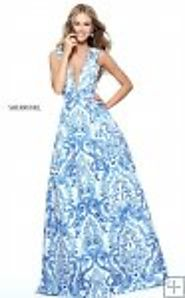Fashion Long Sherri Hill 51014 V-Neck Square Blue/Ivory Print Prom Dress 2017 [Sherri Hill 51014] - $273.00 : 2016 Pr...
