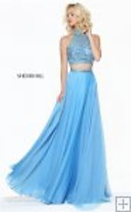 Gorgeous Blue Crystals 2 PC Halter Chiffon Prom Dress From Sherri Hill 50809 [Blue Sherri Hill 50809] - $210.00 : 201...