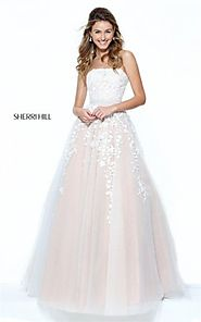 Lace Embroidered Strapless Beaded Prom 2017 Long Dress by Sherri Hill 50864 [Sherri Hill 50864 Nude/Ivory] - $232.00 ...