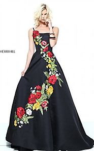 Multi Asymmetrical Floral Print Black Sherri Hill 50830 Prom Dress Long [Black Sherri Hill 50830] - $270.00 : 2016 Pr...
