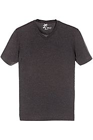 Buy Charcoal Melange Knit V-Neck Cotton Tees for Men at Zobello