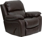 Man Cave Furniture Brown Leather Rocker Recliner