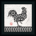 Black White Rooster 1 French Country Kitchen 15x15 Framed Art Print Picture by Stephanie Marrott