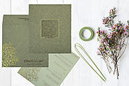 Sage Floral Themed Laser Cut Wedding Invitation Cards