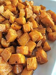 Roasted Maple Cinnamon Sweet Potatoes