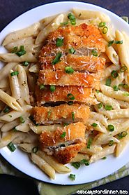 Garlic Parmesan Pasta with Crispy Chicken