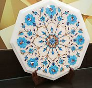 Marble Inlaid Table Tops Having Turquoise Stone Work