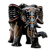 Black Marble Multicolored Semi-precious Stone Inlaid Elephant