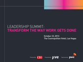 Workplace 2020 Keynote at Leadership Summit 2013