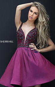 Sherri Hill 50536 Plunging V Neck Beaded Straps Taffeta A Line Homecoming Dresses Plum Discount [Plum Sherri Hill 505...