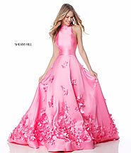 2018 Sherri Hill 51116 High Neck 3D Floral Appliques Pink Long Mikado Prom Gown [Sherri Hill 51116 Pink] - $210.00 : ...