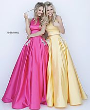 Open Back Yellow 2018 Sherri Hill 51587 Two Piece Long Satin Prom Dresses [Sherri Hill 51587 Yellow] - $200.00 : 2018...