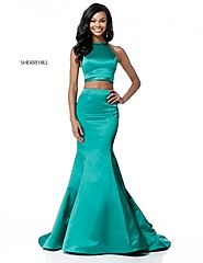 High Neck Two Piece Emerald Sherri Hill 51585 Long Satin Prom Dresses 2018 [Sherri Hill 51585 Emerald] - $180.00 : 20...