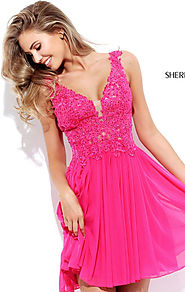 Applique Sherri Hill 50756 V Neck Chiffon Short A Line Homecoming Dress Fuchsia [Sherri Hill 50756 Fuchsia] - $172.00...