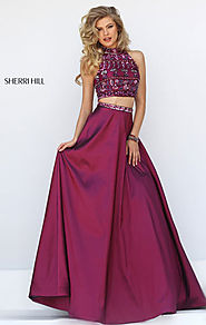 Discount Sherri Hill 32366 Beaded Wine/Multi 2 Piece Long Taffeta Evening Gown [Sherri Hill 32366 Wine/Multi] - $260....