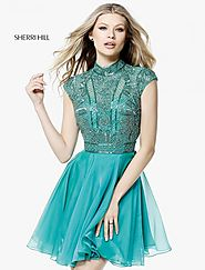 Sherri Hill 51291 Beaded Pattern 2017 Chiffon Short A Line Party Dresses Jade [Sherri Hill 51291 Jade] - $250.00 : 20...