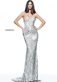 V Neck Sequin Open Back Sherri Hill 51206 Beaded 2017 Silver Long Evening Gown [Sherri Hill 51206 Silver] - $600.00 :...