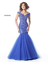 Beaded Bodice Sherri Hill 51446 Cap Sleeve 2017 Royal Long Tulle Prom Dresses [Sherri Hill 51446 Royal] - $350.00 : 2...
