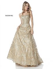 Sweetheart Gold A Line Long Metallic Lace Prom Dresses 2018 Sherri Hill 51572 [Sherri Hill 51572 Gold] - $600.00 : 20...