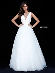 Sherri Hill 51676 Plunging V Neck 2018 Ivory Beaded Bodice Long Tulle Ball Gowns [Sherri Hill 51676 Ivory] - $500.00 ...