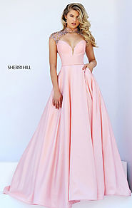 2016 Beaded Sleeves Blush Sherri Hill 50004 Long Satin Prom Dress Sweetheart [Sherri Hill 50004 Blush] - $220.00 : 20...